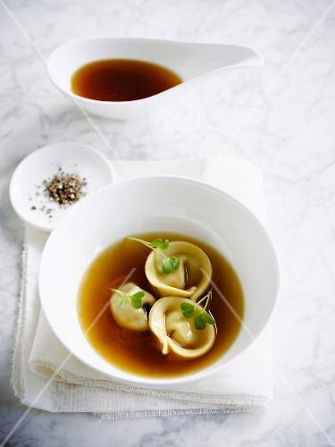 Mushroom and tortellonis broth