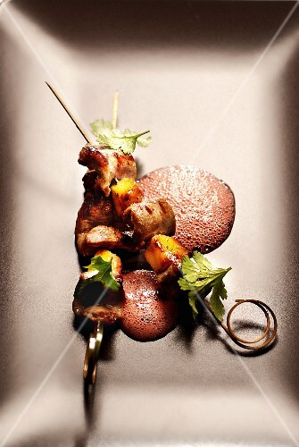 Meat and mango brochettes,summer fruit emulsion