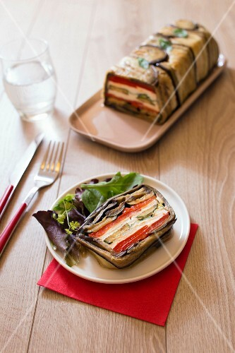 Grilled vegetable and goat's cheese terrine