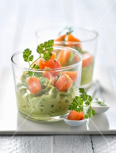 Avocado mousse with diced salmon, lemon and orange zest
