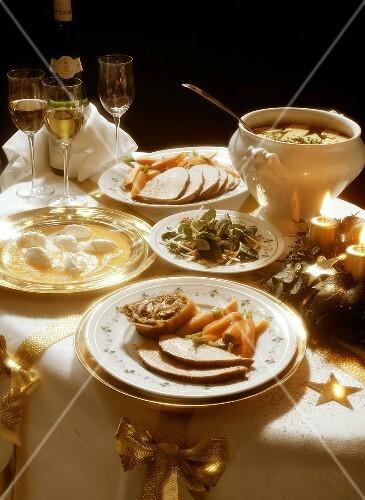 Austrian Christmas Menu with Sliced Veal Roas
