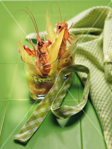 Tender leek,shrimp and brick leaf Verrines