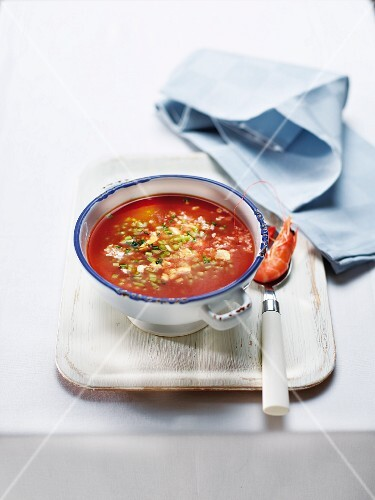 Cold tomato soup with shrimps and cucumber