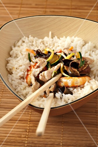 Rice with pork,shrimps and black mushrooms