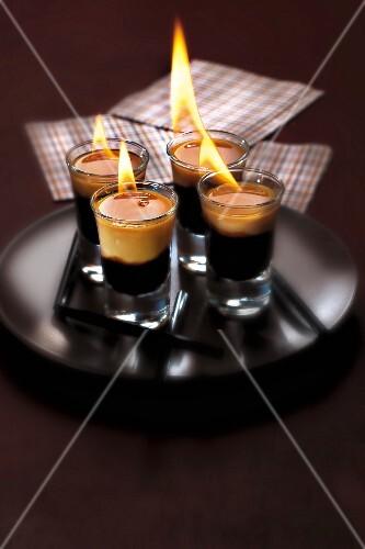 Coffee liqueur flambé cocktail