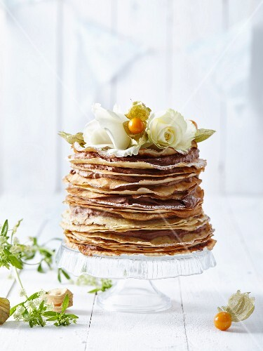 Pancake and chocolate mousse layer cake