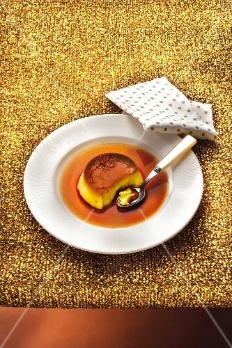 Saffron-flavored Crème caramel