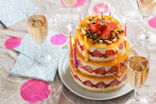 Strawberry cream cake for a birthday