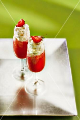 Daiquiri, strawberry liqueur and whipped cream cocktail