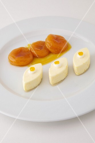 Three ice cream Caissons,poached apricots