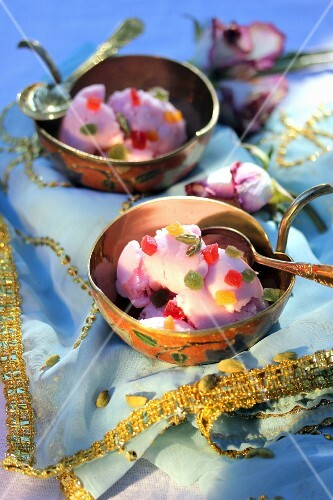 Rose, cardamom and candied fruit sorbet