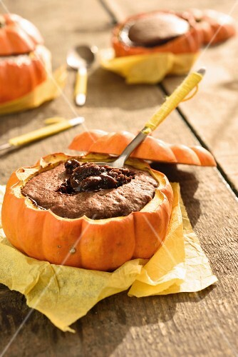 Pumpkin and chocolate fondant in a pumpkin skin