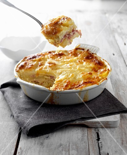 Ham and celeriac gratin