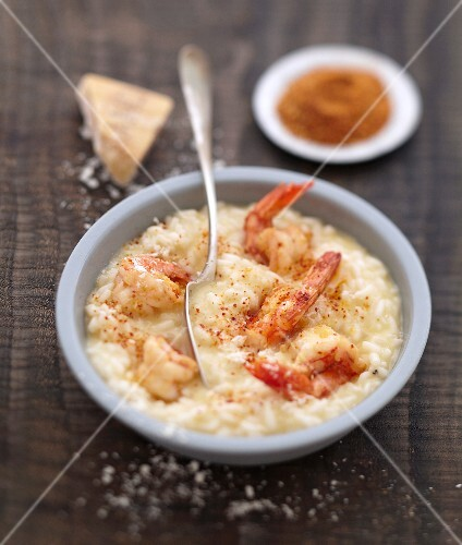 Risotto with gambas and Cayenne pepper