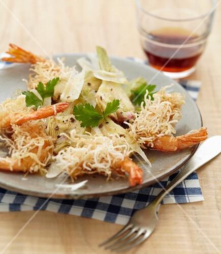 Artichoke salad with Parmesan cheese, crispy prawns in kadaif
