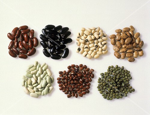 Small Piles of Assorted Beans