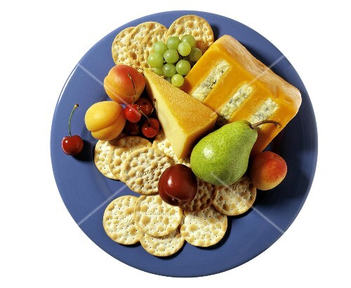 Platter with Cheese and Crackers; Fruit