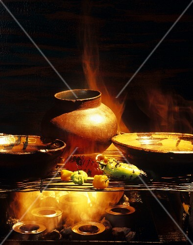 Mexican Peppers and Pots on Flame