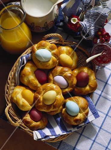 Yeast Pastry with colorful Easter Eggs