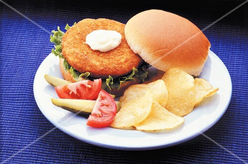 Fried Chicken Patty Sandwich with Chips (not available for advertising use)