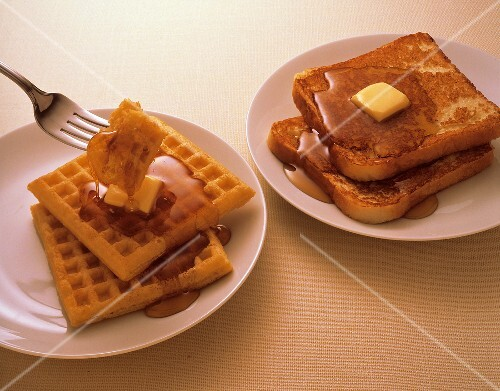 Waffles and French Toast with Butter and Syrup