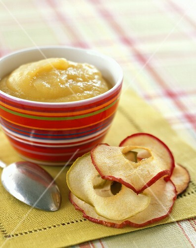 A Bowl of Applesauce with Dried Apple Slices