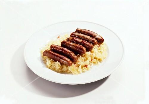 Pork Sausages on Sauerkraut