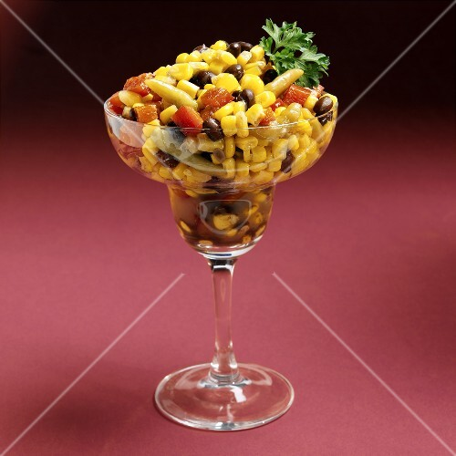 Sweetcorn salad with beans and peppers in Margarita glass
