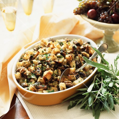 Bread Stuffing with Mushrooms, Thyme and Sage