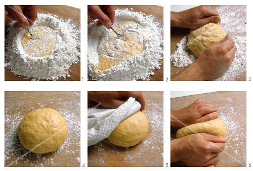 Making and kneading pasta dough