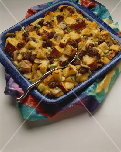 Egg, Sausage, Cheese and Bread Casserole in Baking Dish