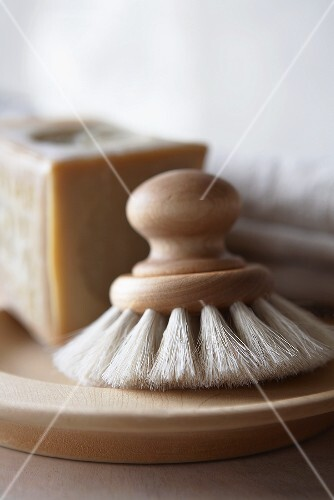 Kitchen Scrub Brush with Wooden Handle, Soap