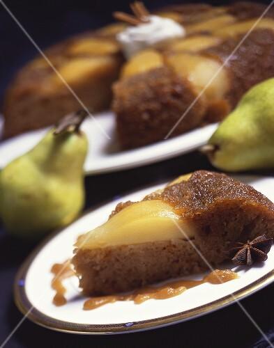 Slice of Pear Upside Down Cake