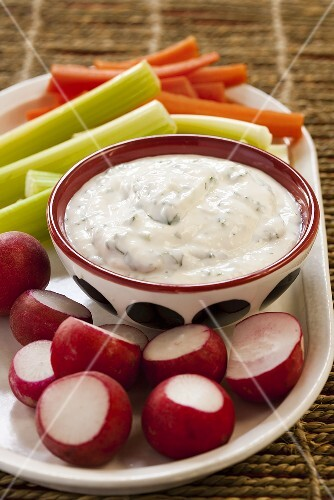 Crudite Platter; Radishes, Celery and Carrots with Creamy Dip