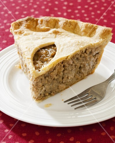Piece of Tourtiere; French Meat Pie Made with Pork and Potatoes