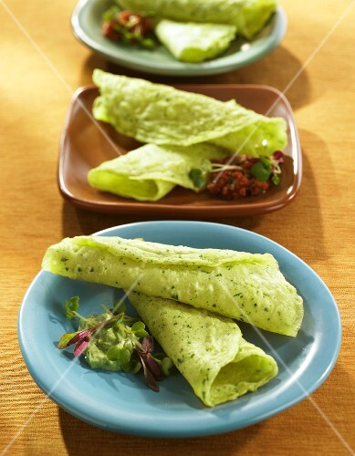 Spinach Crepes on Three Assorted Plates