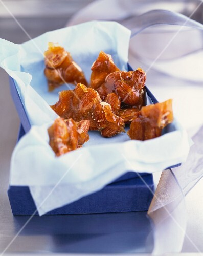 Almond Toffee in an Opened Gift Box