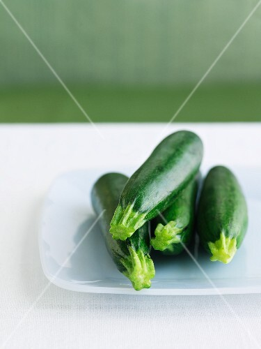 Four Whole Zucchini on a White Dish