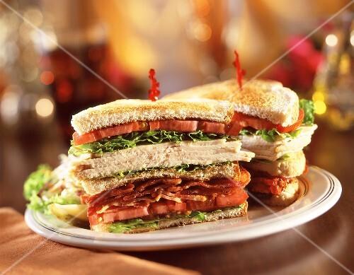 Turkey, Bacon, Lettuce and Tomato Club Sandwich; Halved