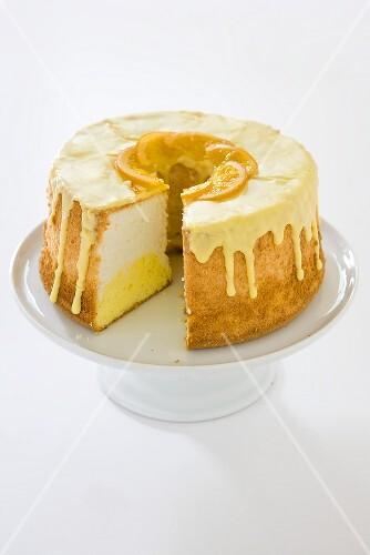 Daffodil Cake; Orange Flavored Angel Food Cake with Slice Removed