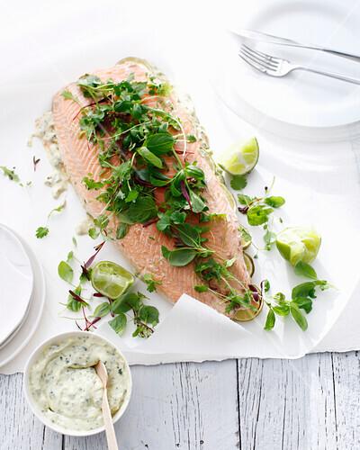 Salmon with herbs and tartar sauce. SalmonForSummer