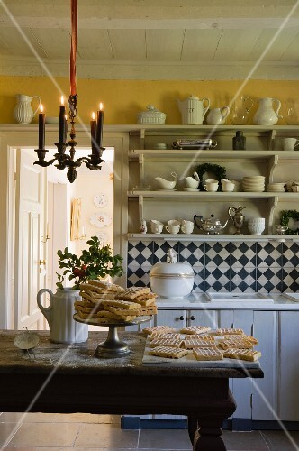 Freshly baked waffles on the dining table in a country house atmosphere