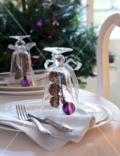 Place setting decorated for Christmas